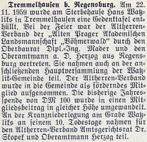 Zpráva krajanského měsíčníku o odhalení pamětní desky na úmrtním domě Hanse Watzlika v Tremmelhausen, kterou Kieweg trochu nejasně zmiňuje v jednom ze svých dopisů