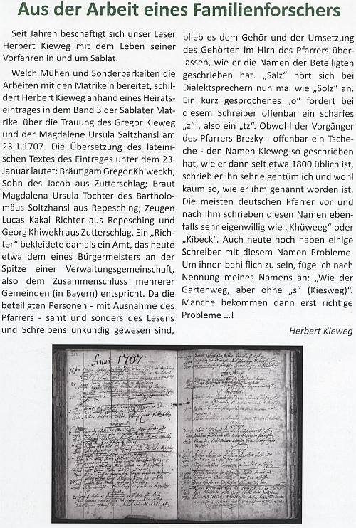 Tady vysvětluje na stránkách krajanského měsíčníku psaní svého příjmení ve starých matrikách