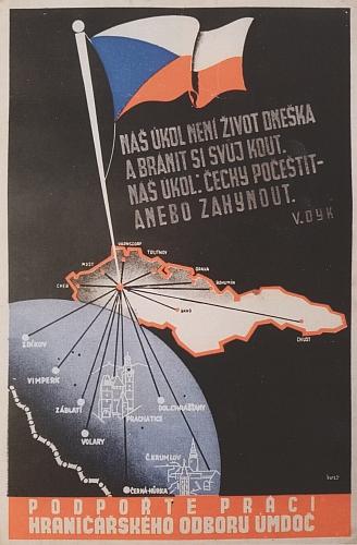 Plakát hraničářského odboru Ústřední matice divadelního ochotnictva v Praze z roku 1937 tu slovy Viktora Dyka (1877-1931) vyzývá k počeštění mimo jiné i Záblatí