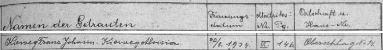 Záznam o datu svatby Franze Johanna Kiewega s Aloisií, roz. Kiewegovou v rejstříku matriky farní obce Záblatí