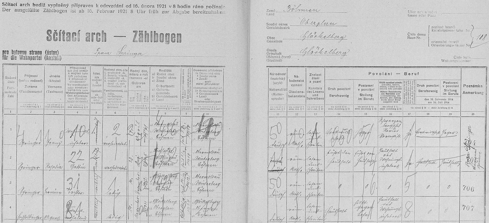 """Arch sčítání lidu z roku 1921 pro stavení čp. 108 v zaniklém Glöckelbergu (dnes Zadní Zvonková), kde bydlel Hajný Franz Springer (*8. dubna 1871 v Horní Vltavici), jeho žena Rosalia (*23. května 1875 v Hrdlořezích), v rubrice """"Muttersprache"""", tj. mateřština, opraveno z """"deutsch"""" na """"česká"""", dcera Hermine a placená služebná Agnes Hochholdingerová odtud z Glöckelbergu"""