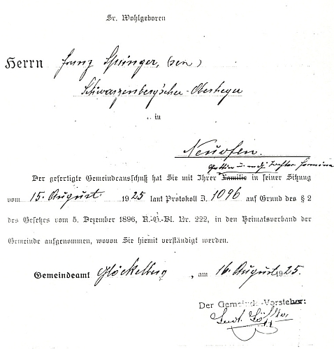 """Na listině propůjčující roku 1925 domovské právo ve Zvonkové Franzi Springerovi je zmiňována i ona, """"Tochter Hermine"""", tj. jeho dcera"""