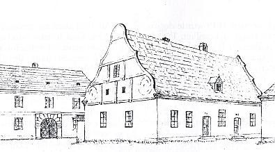 Kresba školy, pod jednou střechou vpravo městský špitál sv. Martina, vlevo budova fary...