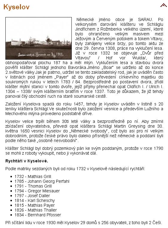 O Kyselově na webových stránkách obce Černá v Pošumaví