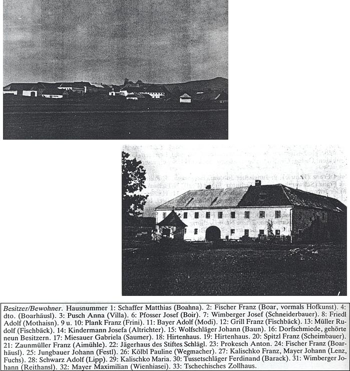 """Seznam obyvatel a vlastníků domů někdejšího Kyselova v roce 1945 uvádí při čísle 14, kde se říkalo """"uAltrichterů"""", Josefu Kindermannovou, dva snímky nad seznamem zachycují ves obnovenou po zhoubném požáru před úplným zánikem po odsunu a obrovitý """"vierkant"""" starobylého Lužního mlýna (Aumühle)"""