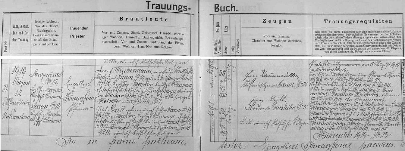 Krásné písmo faráře Engelberta Schwarzbauera zaznamenalo jeho sňatek 12. srpna 1919 s Josefou Grillovou zKyselova čp. 14, kam se přiženil