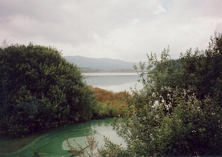 Rybník Olšina, podle něhož se dnes někdejší Langenbruck (i česky Dlouhé Mosty), kde se narodil, jmenuje - vpozadí     na horním snímku se zvedá vrch Měšťan či Měštec (Bürger Berg), směrem od něj je pak pořízen snímekspodní