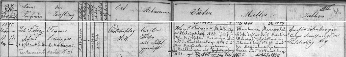 Záznam prachatické křestní matriky pro osadu Perlovice o narození jeho manželky Theresie