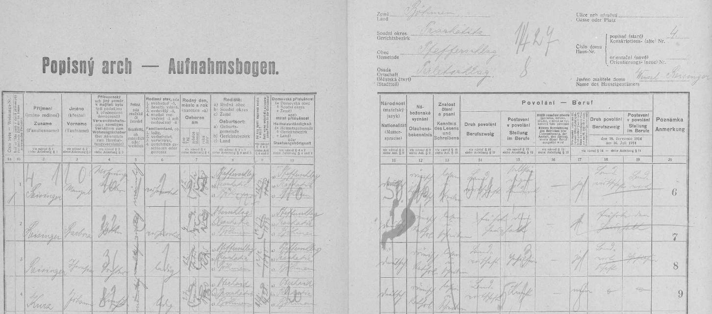 Arch sčítání lidu z roku 1921 pro stavení čp. 4 v Perlovicích s rodinou Reisingerovou, kam se přiženil