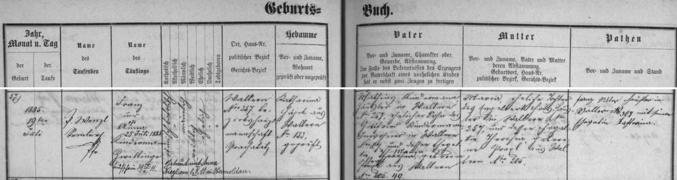 Záznam volarské křestní matriky o narození otcově s pozdějším přípisem o jeho svatbě s Annou Nieglovou