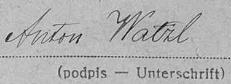 Podpis jejího otce na sčítacím archu z roku 1921