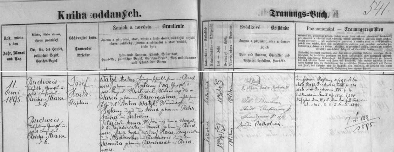 Záznam českobudějovické oddací matriky z června roku 1895 o svatbě třicetiletého vdovce Antona Watzla, jejího děda, se sedmatřicetiletou vdovou Annou Petříčkovou, dcerou lékárníka Josefa Haase