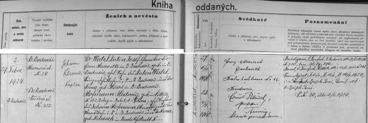 Záznam českobudějovické oddací matriky o svatbě jejích rodičů 29. února 1924 - maminka Hedwig, narozená 4.dubna roku 1900 v Liticích (dnes městský obvod Plzeň 6), byla dcerou Johanna Hofmanna, vrchního oficiála státních drah napenzi, a Marie, roz. Mareschové z Rudolfova