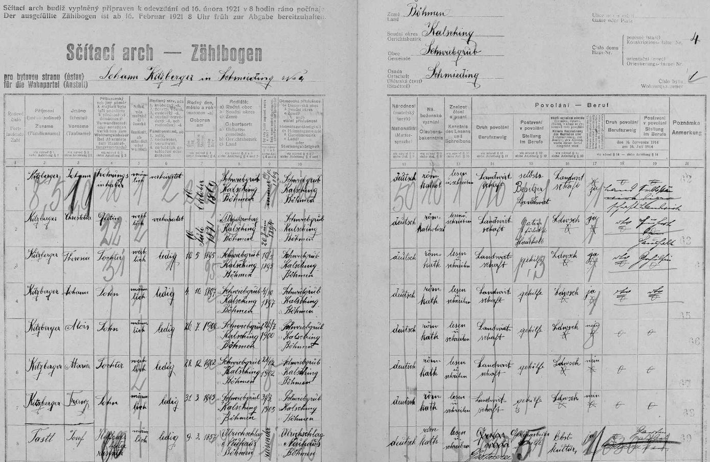 Arch sčítání lidu z roku 1921 pro stavení čp. 4 v Kovářovicích (osada tehdy patřila k politické obci Svíba /Schwiebgrub/) s rodinou Kitzbergerovou