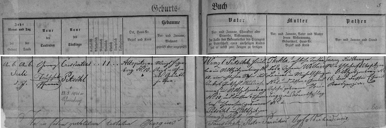 Záznam o narození matčině v křestní matrice farní obce Jablonec (Ogfolderhaid)