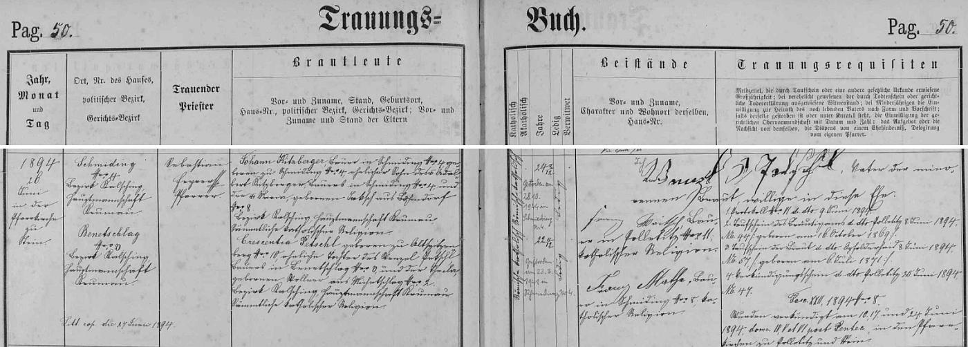Záznam o svatbě rodičů v oddací matrice farní obce Polná na Šumavě