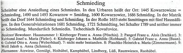 Vývoj pojmenování rodné vsi a seznam majitelů usedlostí v roce 1945