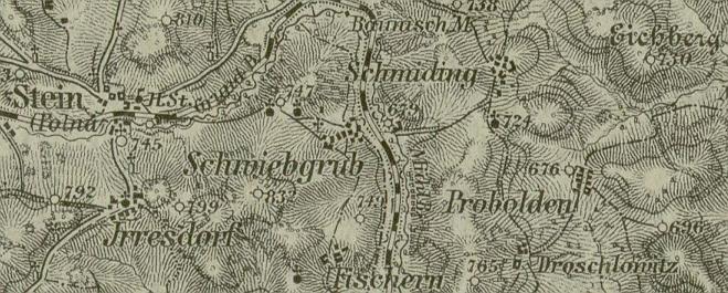 Kovářovice na staré mapě