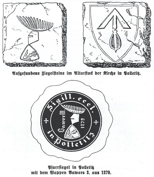 Dlažební cihly nalezené v boletickém kostele a farní pečeť s erbem Bavora III. z roku 1279