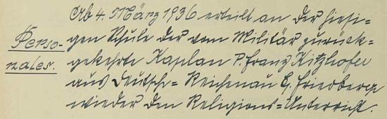 Podle zápisu ve školní kronice převzal v březnu 1936 po návratu z výkonu vojenské služby vyučování nábožentství nejen v dnes zaniklém Rychnůvku, nýbrž i ve Svatém Tomáši