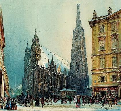 """Zimní podoba vídeňského """"Stefflu"""" na jiném díle téhož malíře sdruhou dostavěnou jeho gotickou věží a dvěma goticky upravenými románskými věžemi vprůčelí, pocházejícími původně snad už z 12. století"""