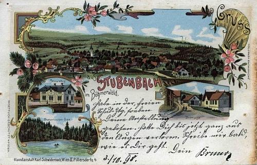 """Barevná pohlednice z Prášil v pseudorokokovém """"vídeňském"""" stylu, zaplavujících v podobných výtvorech celou monarchii"""