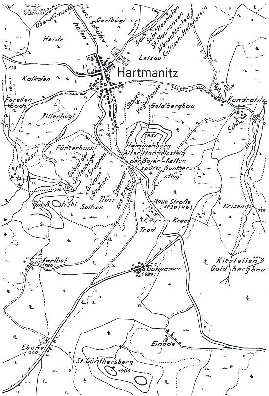 Plánky jeho rodných Hartmanic a jejich okolí