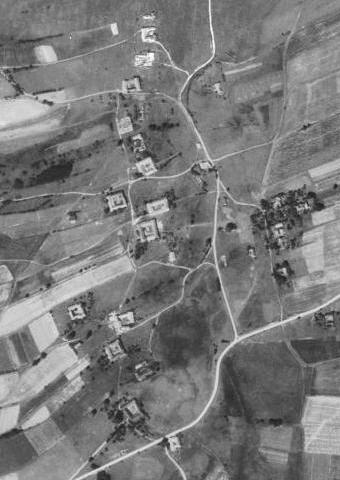 Valtéřov na leteckých snímcích z let 1952 a 2008
