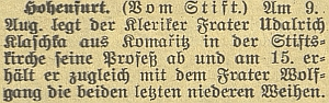 Takto zaznamenal složení jeho řádových slibů českobudějovický německý list