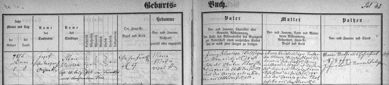 Německy psaný záznam vyšebrodské křestní matriky o narození otcově