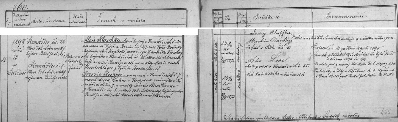 Česky psaný záznam oddací matriky farní obce Střížov o zdejší svatbě jeho rodičů 13. září roku 1898