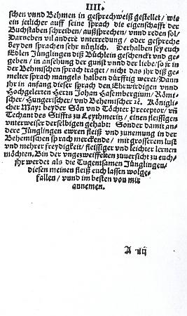 Titulní list (1578) jeho knihy a její český a německý úvod s autorským věnováním