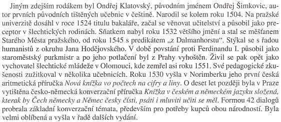 Odstavec o něm v monografii města Klatovy (2010)