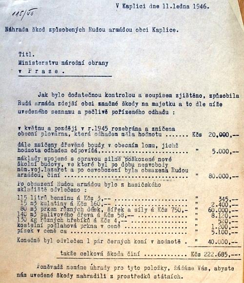 Dokument, ilustrující situaci na Kaplicku po příchodu Rudé armády (viz i Johanna Hofmannová)