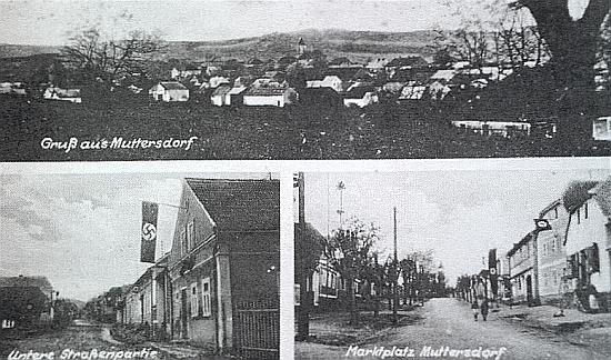 Jeho údaje o cenových relacích jsou převzaty z dějin obce Mutěnín (Muttersdorf), které sepsal učitel Johann Micko     - na pohlednici z druhé světové války vidíme hned dvakrát i nacistickou vlajku