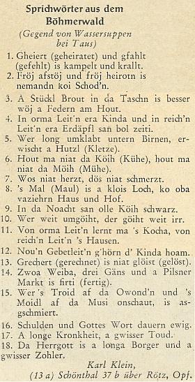 Šumavské nářeční přísloví z okolí Nemanic s jeho jménem a někdejší adresou ze stránek krajanského měsíčníku z roku 1953