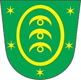 """Nynější znak obce Nemanice s motivem ze znaku Stadionů, tj. třemi zlatými """"vlčími udicemi"""" (viz iJosef Bohmann)"""