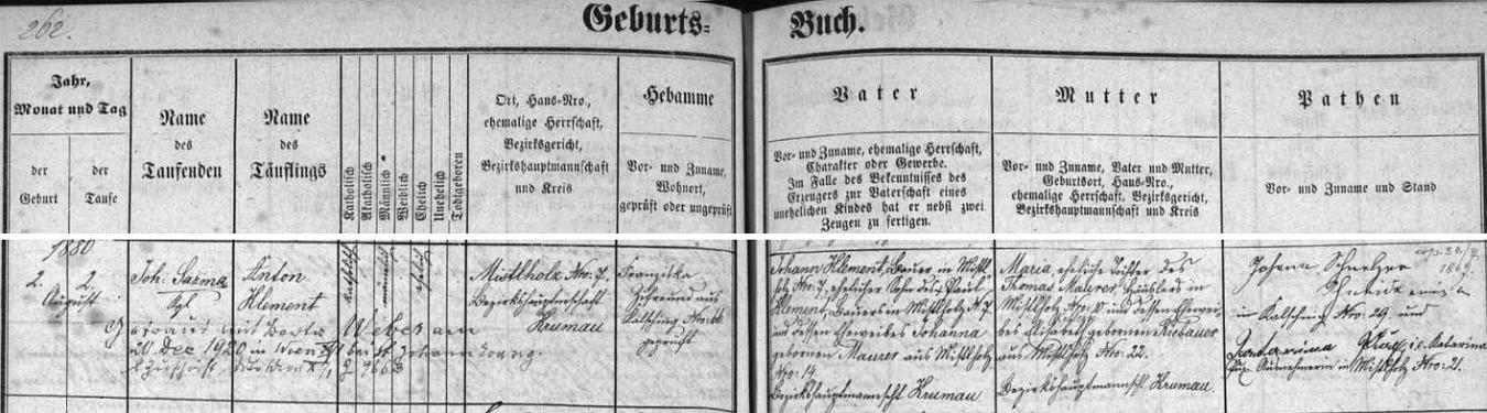 Záznam chvalšinské křestní matriky o jeho narození v Borové čp. 7 rolníku Johannu Klementovi (i jeho otec Paul Klement tu na čp. 7 hospodařil se svou ženou Johannou, roz. Maurerovou z Borové čp. 14) a jeho choti Marii, dceři chalupníka z Borové čp. 10 Thomase Maurera a jeho ženy Elisabeth, roz. Riebauerové z Borové čp. 22 - pozdější přípis nás pak zpravuje o svatbě Antona Klementa s Bertou, roz. Weberovou, ve Vídni dne 20. prosince roku 1920