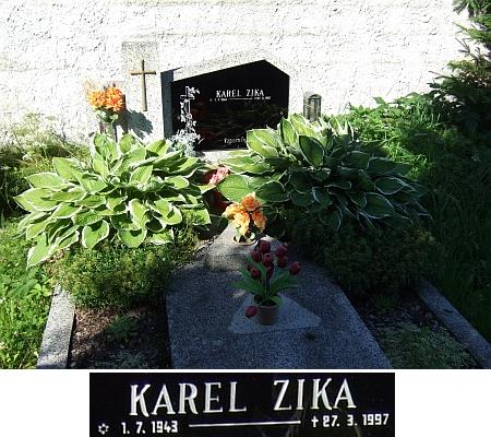 Hrob jejího bratra Karla Ziky v Rychnově nad Malší