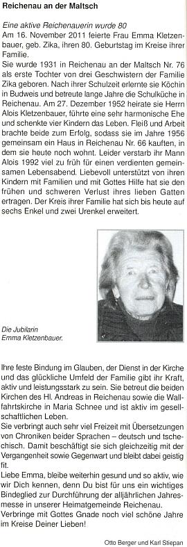 Pozdrav k jejím osmdesátinám, jehož spoluautorem je Karl Stiepan, na stránkách krajanského měsíčníku...