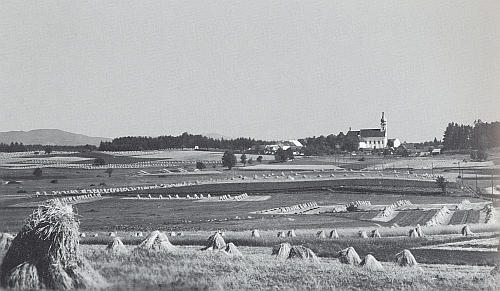 Poutní kostel u Svatého Kamene ještě s obilnými mandeli na polích kolem Rychnova nad Malší
