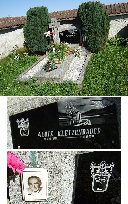 Hrob jejího muže Aloise Kletzenbauera v Rychnově nad Malší a v detailu i rodový znak Kletzenbauerových se stromem, domem a (sušenou) hruškou dole s ježkem