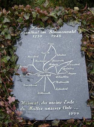 Pamětní deska a památník obcí farnosti Rožmitál na Šumavě, odhalené k 540. výročí jejího vzniku     v rakouském Rainbachu ve dnech 20.-22. srpna 1999 při krajanském setkání