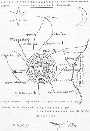 Kreslená podoba rozsahu farnosti Rožmitál na Šumavě, která byla zřejmě podkladem pro podobu pamětní desky