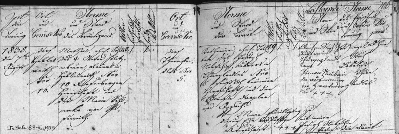 """Záznam z matriky farní obce Věžovatá Pláně o svatbě jeho rodičů 8. srpna roku 1838 - otec pocházel z Havlova (Hablesreith), matka odtud z """"Thurmplandles"""""""