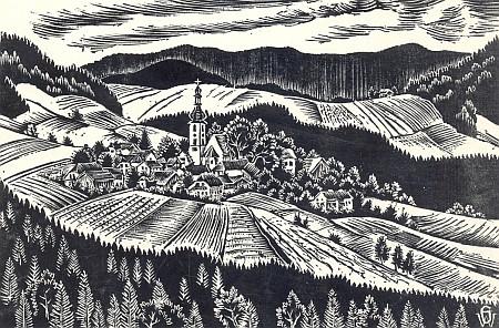 Dřevoryt Waltera Grössla, vzniklý zřejmě v souvislosti s obrazem Josefa Maiera,má jako on v pozadí táhlý obrys Vysokého Bogenu