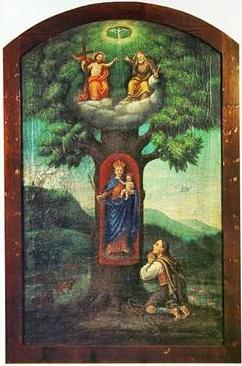 Matka Boží z Červeného Dřeva na obraze uctívaném dnes v kostelíku Jägershof ubavorského Neukirchen beim Heiligen Blut, kam byl přenesen zněkdejší Wallnerovy kaple doma