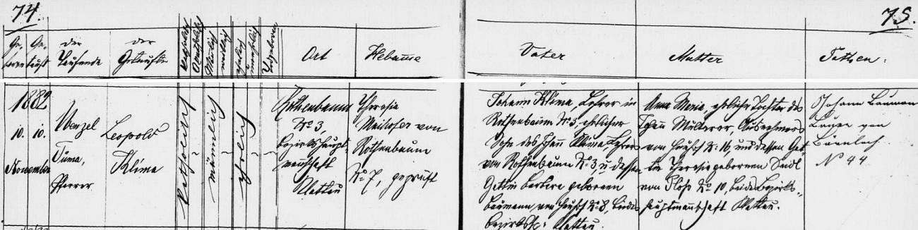 Záznam křestní matriky farní obce Červené Dřevo o jeho narození 10. listopadu roku 1882 (téhož dne byl tu i pokřtěn) v rodině zdejšího učitele Johanna Klimy (jeho otec Johann Klima rovněž vykonával učitelské povolání, matka Barbara byla roz. Baumannová ze Srubů /Heuhof/) a jeho ženy Anny Marie, dcery Johanna Multerera ze Srubů čp. 16 a Theresie, roz. Seidlové z Pláně (Plöß) čp. 10