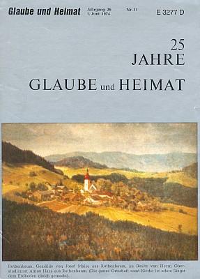 Červené Dřevo (olejomalba Josefa Maiera) na obálce jubilejního čísla časopisu Glaube und Heimat (1974)...