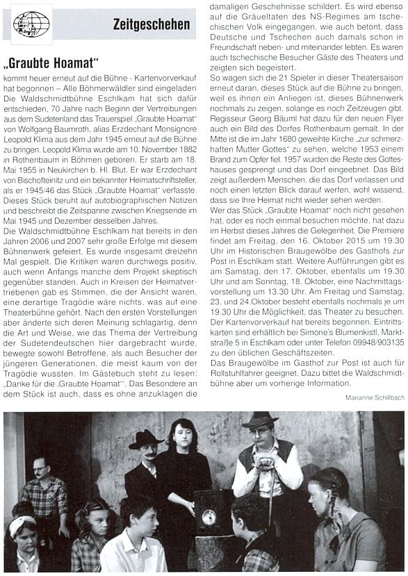 """K obnovenému uvedení jeho hry """"G'raubte Hoamat"""" ochotnickou scénou """"Waldschmidtbühne"""" v Eschlkamu upříležitosti 60. výročí Klimova úmrtí"""